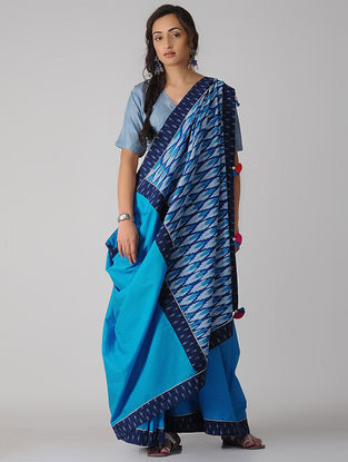 Blue-Ivory Constructed Ikat Cotton Saree with Tassels