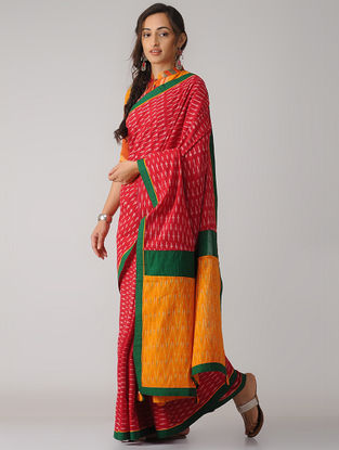 Red-Mustard Constructed Ikat Cotton Saree with Tassels
