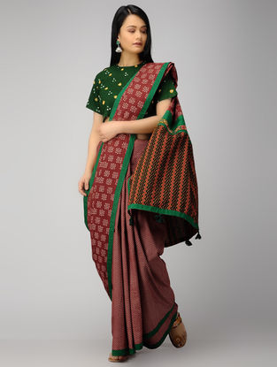 Maroon-Green Block-printed Constructed Cotton Saree with Tassels (Set of 2)