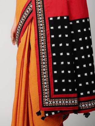 Orange-Black Ikat Constructed Cotton Saree with Tassels (Set of 2)