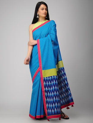 Blue-Green Ikat Constructed Cotton Saree with Tassels (Set of 2)
