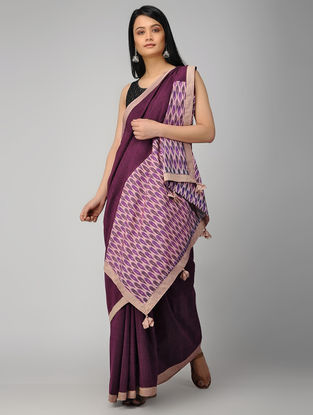 Purple Ikat Constructed Cotton Saree with Tassels (Set of 2)