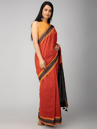 Red-Black Ikat Constructed Cotton Saree with Tassels (Set of 2)