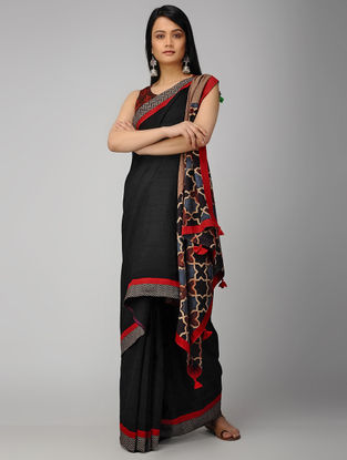 Black-Blue Block-printed Constructed Cotton Saree with Tassels (Set of 2)