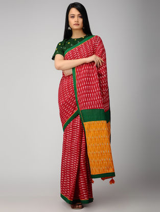 Red-Orange Ikat Constructed Cotton Saree with Tassels (Set of 2)