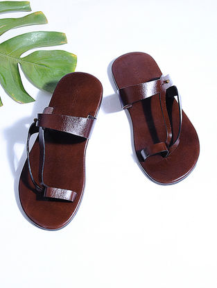 Brown Hand-crafted Leather Flats for Men