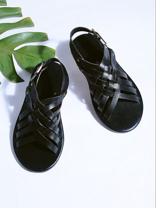 Black Hand-crafted Criss-cross Leather Flats for Men