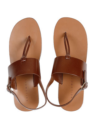 Tan Hand-crafted Leather Flats for Women
