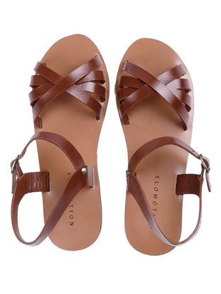 Tan Handcrafted Criss-cross straps Leather Flats for Women