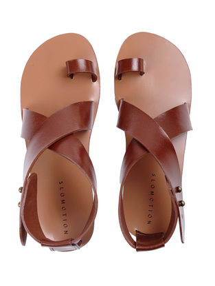 Tan Handcrafted Ankle-strap Leather Flats for Women