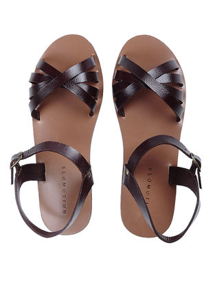 Brown Handcrafted Criss-cross straps Leather Flats for Women