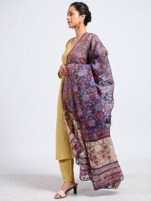 Purple-Ivory Block-printed Silk Cut-work Dupatta with Mukaish-work