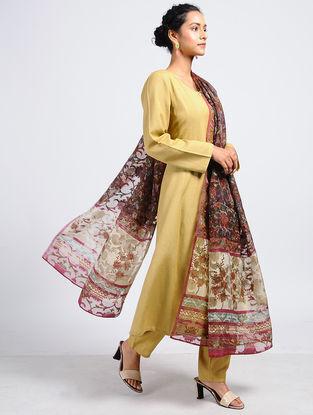 Brown-Ivory Block-printed Silk Cut-work Dupatta with Mukaish-work
