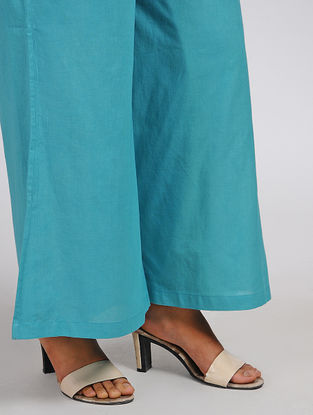 Turquoise Elasticated Waist Cotton Palazzos