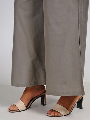 Taupe Elasticated Waist Cotton Palazzos
