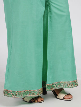 Green Elasticated Waist Cotton Palazzos