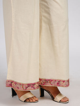 Ivory Elasticated Waist Cotton Palazzos