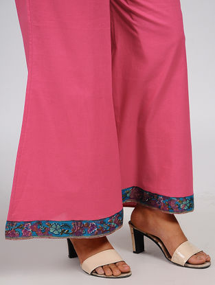 Pink Elasticated Waist Cotton Palazzos