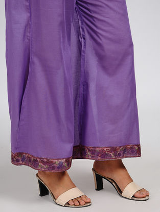 Purple Elasticated Waist Cotton Palazzos