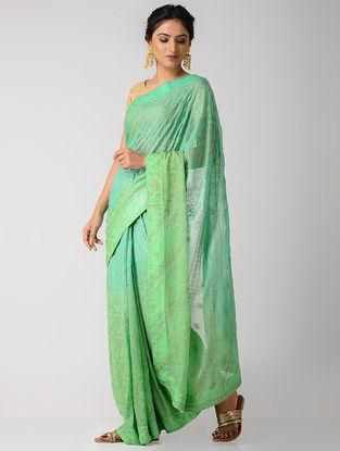 Green Rogan-printed Blended Silk Saree