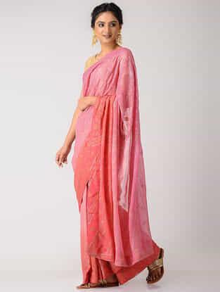 Pink-Peach Rogan-printed Blended Silk Saree