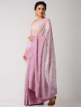 Lavender Rogan-printed Blended Silk Saree