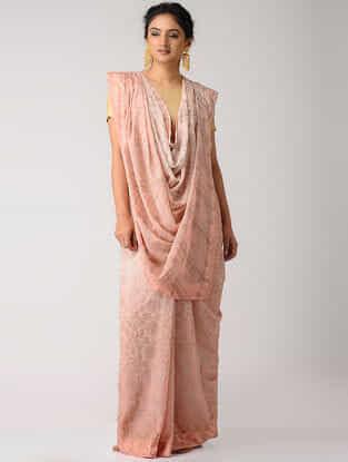 Peach Rogan-printed Blended Silk Saree