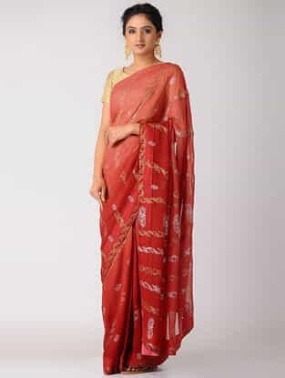 Red Rogan-printed Blended Silk Saree