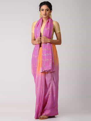 Pink-Orange Rogan-printed Blended Silk Saree