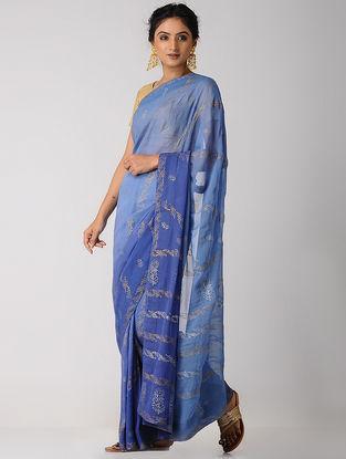Blue Rogan-printed Blended Silk Saree