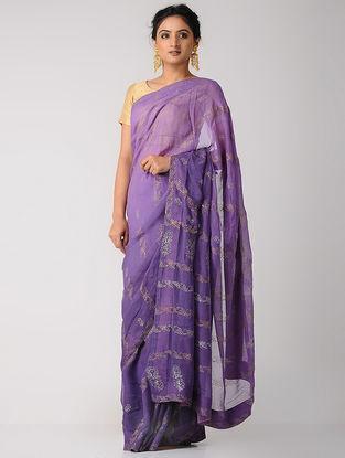 Purple Rogan-printed Blended Silk Saree