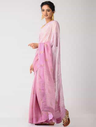 Pink Rogan-printed Blended Silk Saree