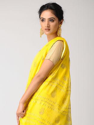 Yellow Rogan-printed Blended Silk Saree