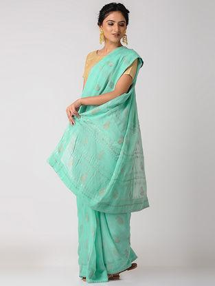 Sea-Green Rogan-printed Blended Silk Saree