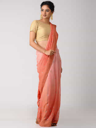 Peach-Pink Rogan-printed Blended Silk Saree