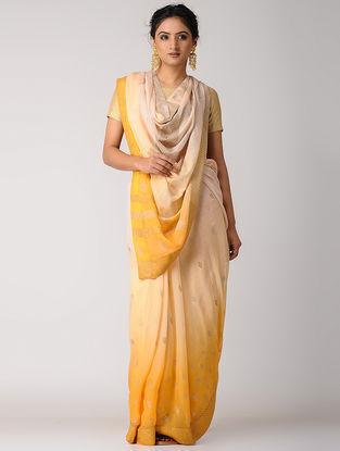 Yellow-Beige Rogan-printed Blended Silk Saree