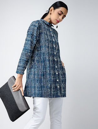 Blue-Ivory Printed Cotton Tunic