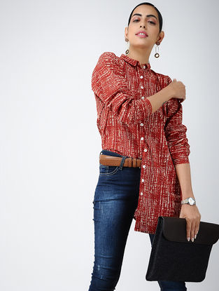 Red-Ivory Printed Cotton Tunic