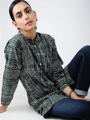 Green-Ivory Printed Cotton Tunic