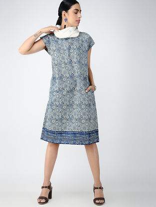 Blue-Ivory Printed Cotton Dress with Pockets