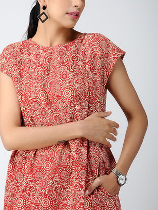 Red-Ivory Printed Cotton Dress with Pockets