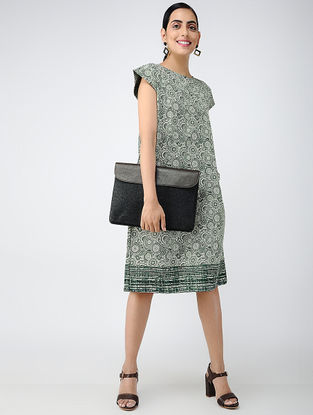 Green-Ivory Printed Cotton Dress with Pockets