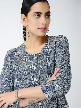 Blue-Ivory Printed Cotton Front-open Kurta