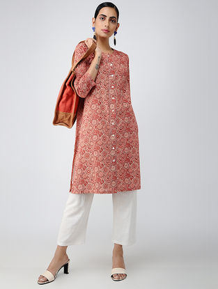 Red-Ivory Printed Cotton Front-open Kurta