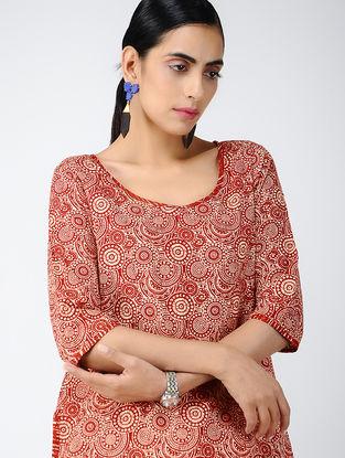 Red-Ivory Printed Cotton Kurta