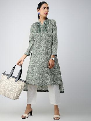 Green-Ivory Printed Cotton Kurta