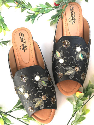 Black-Gold Hand-Embroidered Leather Slip-Ons
