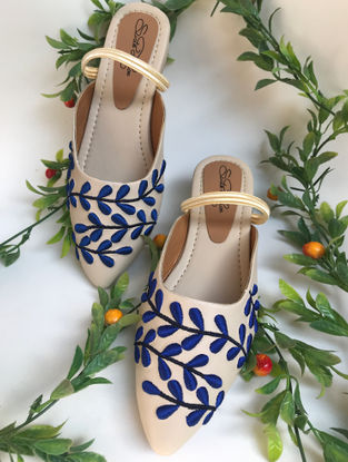 Cream-Navy Hand-Embroidered Leather Slip-Ons