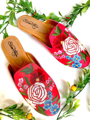 Pink-Multicolored Hand-Embroidered Raw Silk Slip-Ons