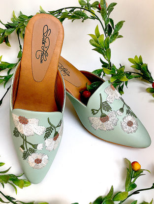 Mint Hand-Embroidered Leather Block Heels